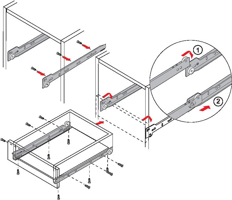 Установка роликовых направляющих схема